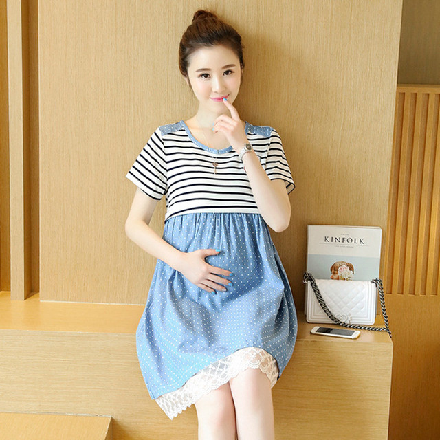 9acda2b4a22af New Summer Slimming Striped Maternity Dress A-line Loose Expectant Mother  Casual Dress Cotton Stitching Pregnant Women Clothes