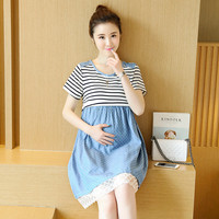 New Summer Slimming Striped Maternity Dress A-line Loose Expectant Mother Casual Dress Cotton Stitching Pregnant Women Clothes