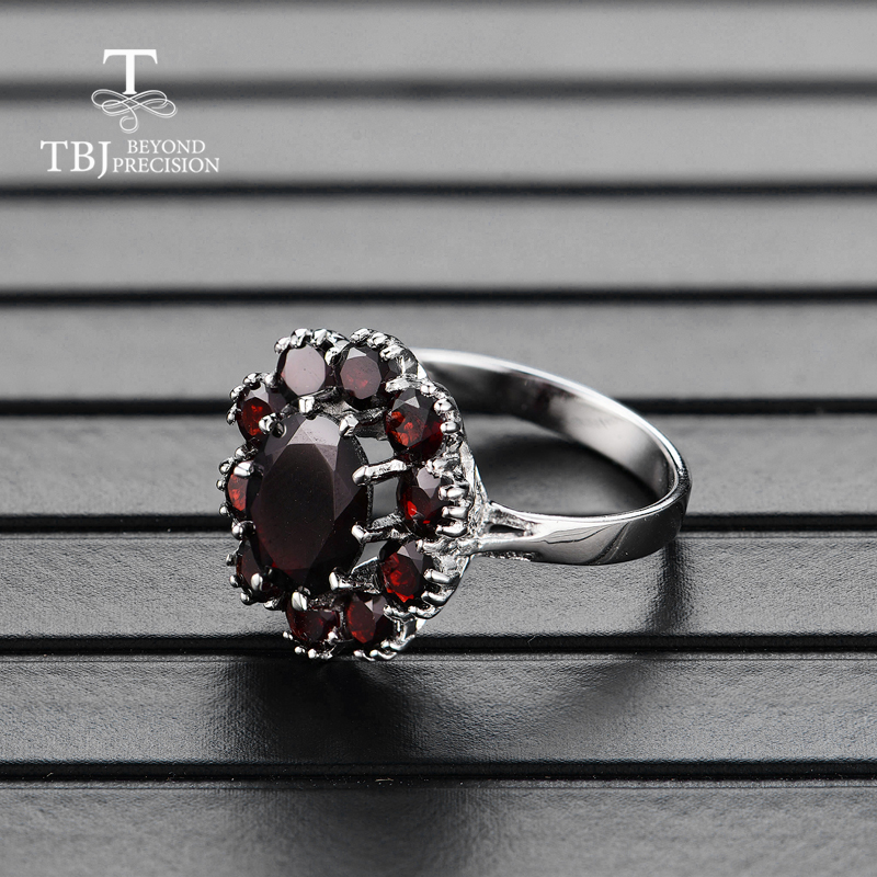 Image 3 - TBJ,925 sterling silver natural gemstone black garnet rings fine  jewelry for woman and girl anniversary