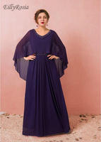 Purple Plus Size Evening Dresses for Mother of the Bride Wedding Party Chiffon A Line Beading Formal Evening Gowns with Cape
