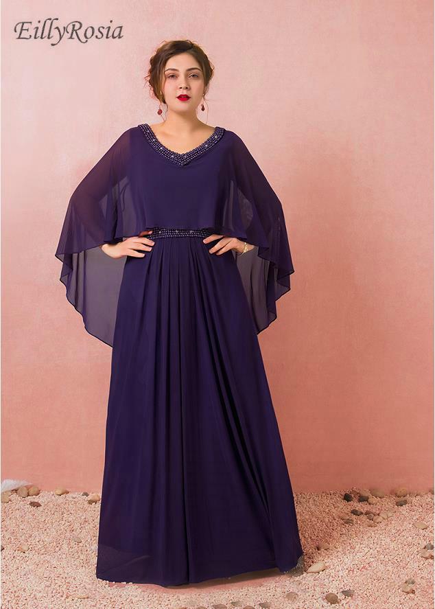 Robes de soirée violet grande taille pour la mère de la mariée fête de mariage en mousseline de soie une ligne perles robes de soirée formelles avec Cape