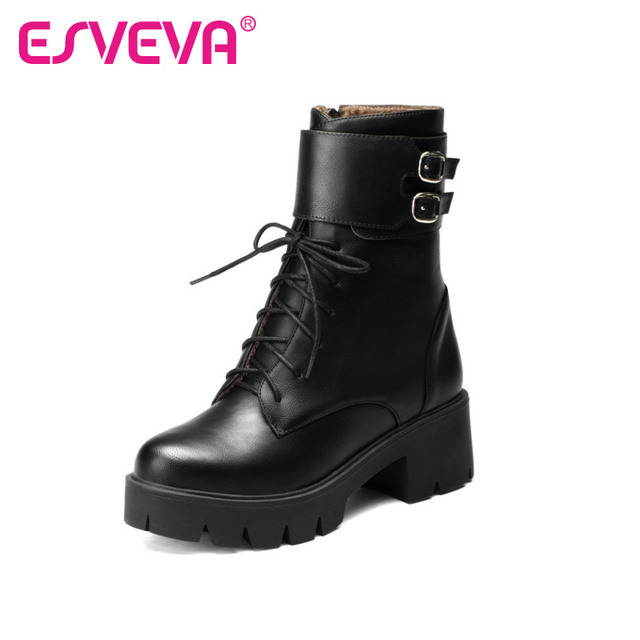 ESVEVA 2017 College Style Lace Up Fashion Boots Square High Heel Soft PU Punk Ankle Boots Size 34-43