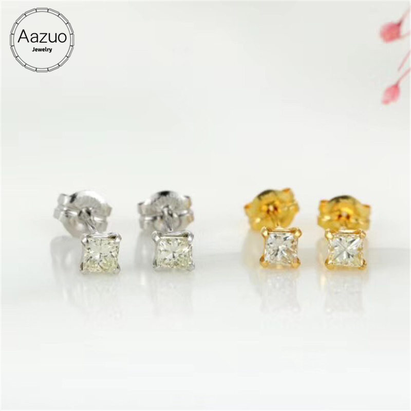 Aazuo 100 18K Yellow Gold White Gold Real Diamonds Princess Shape Square Stud Earring For Woman
