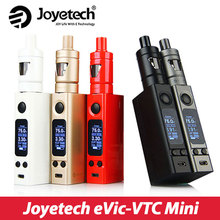 100% original joyetech evic-vtc mini starter kit con 4 ml de tron s atomizador y 75 w caja mod e-cigarrillo kit completo