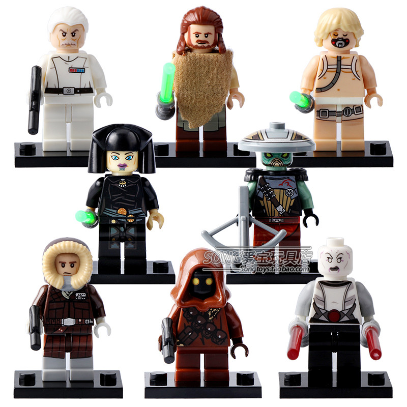 8pcs STAR WAR Rogue One Luke Qui-Gon Jinn Admiral Yularen Ventress UNDULI Han Solo Enbo Jawa DIY minifig Blocks Toys Gifts