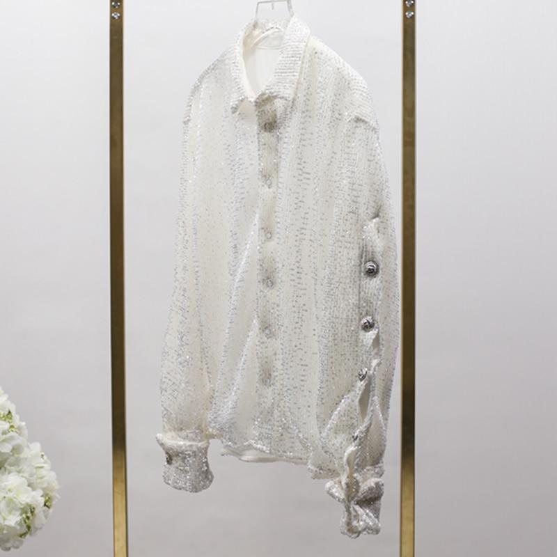 Qualità Del Progettista Di Leone Nuovo Pulsanti Donna Paillettes Camicia Alta Con Lunga Modo 2018 Camicetta Manica XdUPwY