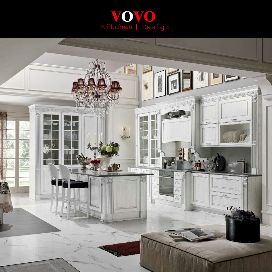 White MDF Thermofoil Pre assembled Kitchen Cabinet with price-in ...