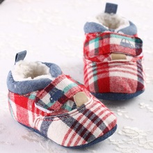 2016 Tartan Plaid Winter Baby Boots Infant First Walkers Ankle Snow Warm Cotton Soft Crib Infant Fleece Newborn Toddler Shoes