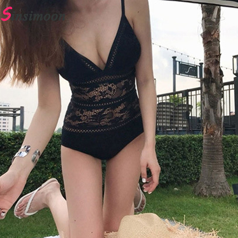 White Black Women Mesh Lace One Piece Swimsuit New High Cut Bathing Suit Thong Swimwear Deep V Swimming Suit Bandage Bodysuit manyie hot new black white red one piece swimwear backless bathing suit padded deep v monokini swimsuit bandage bodysuit biquini
