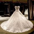 2017 Novo e Elegante Vestidos de Noiva do Querido Branco Marfim Cetim Vestidos de Casamento Da Princesa 2017 vestido de Baile vestido de noiva 2017