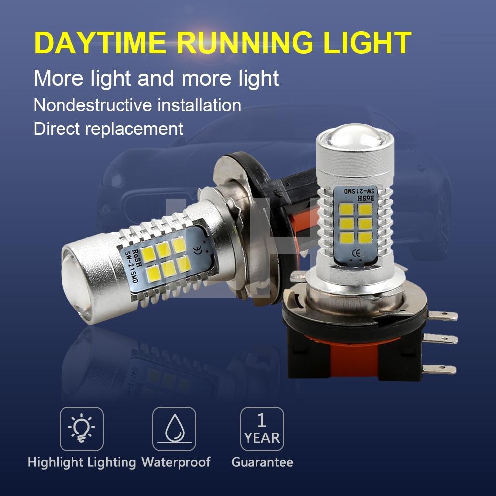 2PCS LED Bulbs 12V 24V White 6000K High Power 21-SMD LED Daytime Running H15 Fog Light