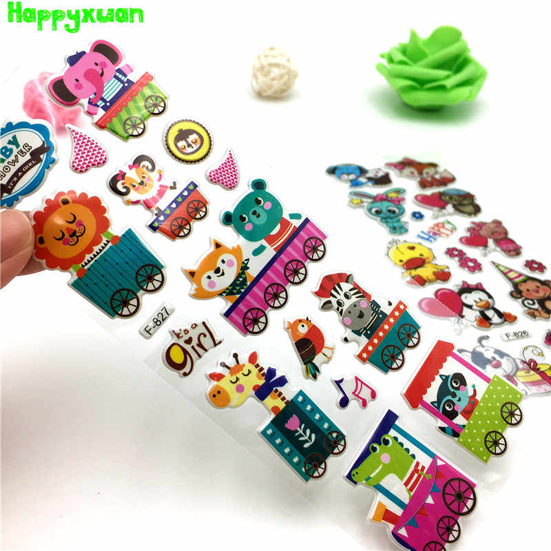 Happyxuan 24 Vellen/lot Kid 3D Bubble Gezwollen Stickers Dieren Cartoon School Leraar Beloning Scrapbooking Speelgoed Kleuterschool Baby