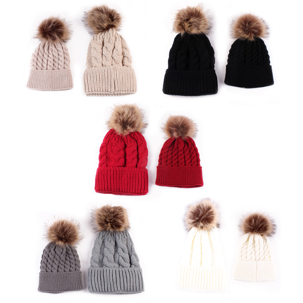 Mother & Kids 2pcs/set Mother Baby Warm Winter Knit Beanie Hat Fur Pom Hat Women Child Crochet Ski Cap Parent-child Hat Fr024 Fixing Prices According To Quality Of Products