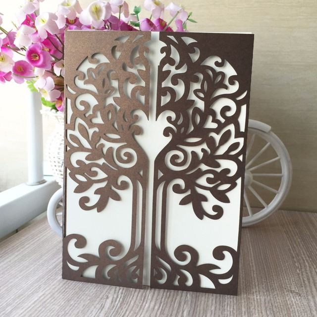 30pcslot hot laser cut chic tree design romantic wedding 30pcslot hot laser cut chic tree design romantic wedding invitations cards party decoration personalized m4hsunfo
