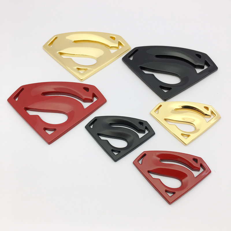 ANTINIYA 3D chrome metal Superman emblem badge Motorcycle car accessories Car styling Funny car stickers for bmw toyota mazda