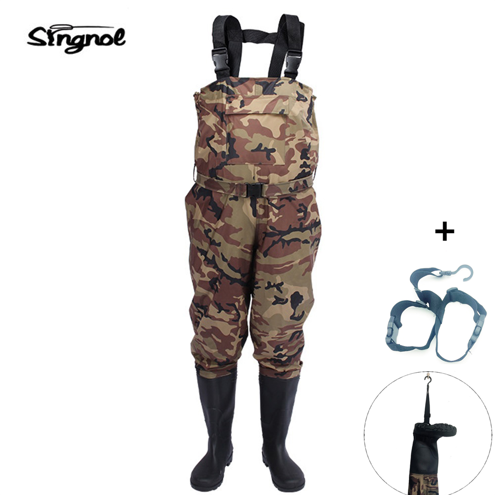 Singnol Camouflage Fishing Boot Foot Waders Shoes Nylon and PVC Waterproof Hunting Pants Men's US 9 - 13 Large size майка tom tailor цвет черный