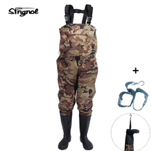 Singnol Camouflage Fishing Boot Foot Waders Footwear Nylon and PVC Waterproof Searching Pants Males's US 9 – 13 Massive dimension