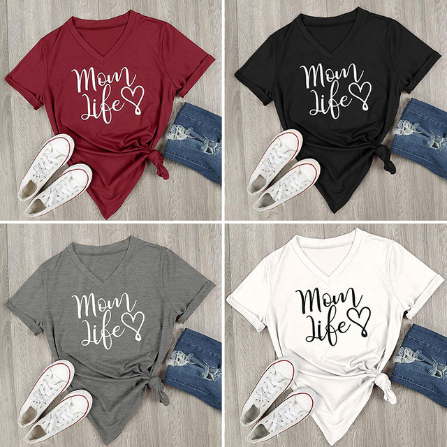 26824def966 2018 Summer Casual T shirt Female Tee Loose Tops Fashion Women T-Shirts Mom  Life Letter Printed V-Neck Short Sleeve Tops