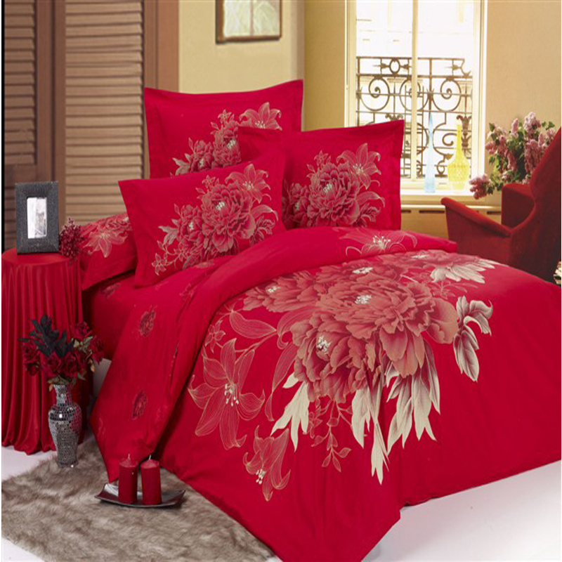 unique wedding bedclothes cotton red Rose 4pc bedding set 3d Full king queen bed sheet Linen Duvet/Comforter/Quilt cover sets - myloves household items store