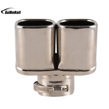Y-Pipe Dual Curved Car Stainless Steel Silver Chrome Round Tail Muffler Tip Pipe Automobile Exhaust Pipes Tips