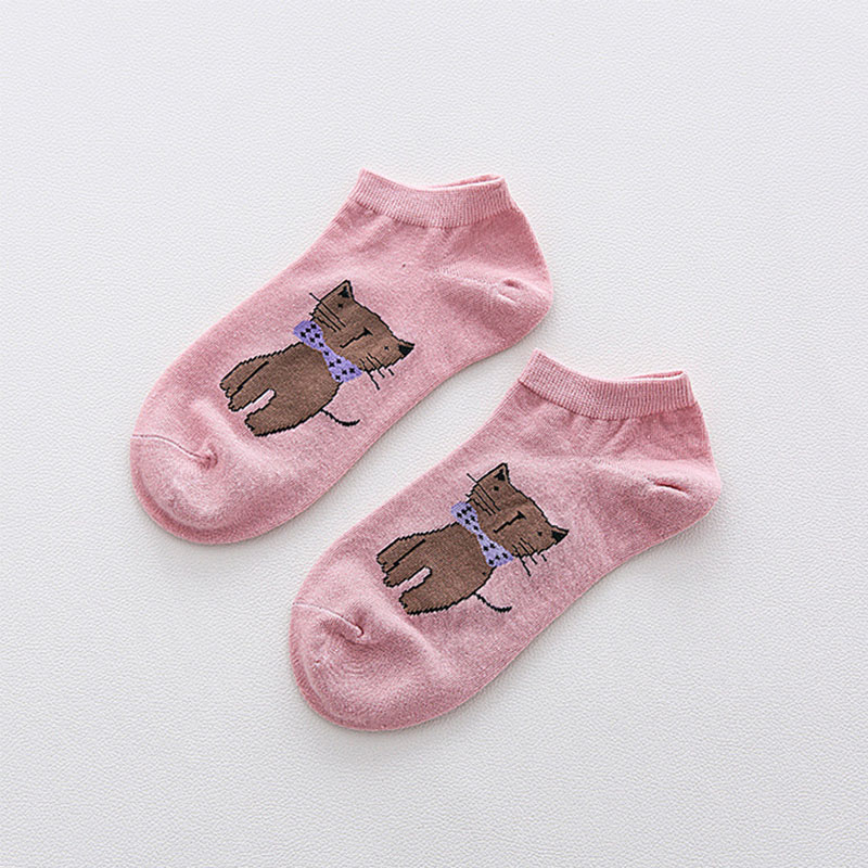 LNRRABC 2018 New Low Cut Candy Color Cartoon Cat Cotton Comfortable Hot New Ankle Socks Women Cute Soft Girls chaussette femme in Socks from Underwear Sleepwears