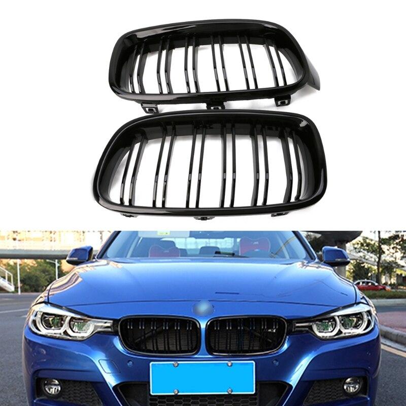 1 paire de Grilles de calandre pour pare-chocs avant de voiture noir brillant pour BMW série 3 F30 F31 F35 2012-2016 accessoire Auto de haute qualité