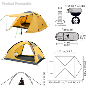 Image 4 - GeerTop Large Family Tent Four Season 4 6 Person Roof Top Winter Camping Tents Waterproof Durable Tent Outdoor Hiking Tourist