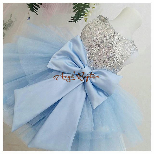2017 Sliver Sequined Tiered Flower Girl Dresses for Baby 1 year Birthday Ball Gowns With Bow first communion dresses for girls baby wow baby clothes girl dresses for 1 year birthday christmas first communion dresses for toddler clothes 80187