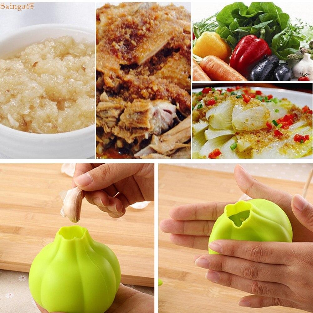 Saingace Silicona Prensa de Ajo Trituradora Utensilio de Cocina Pelador de Verdu