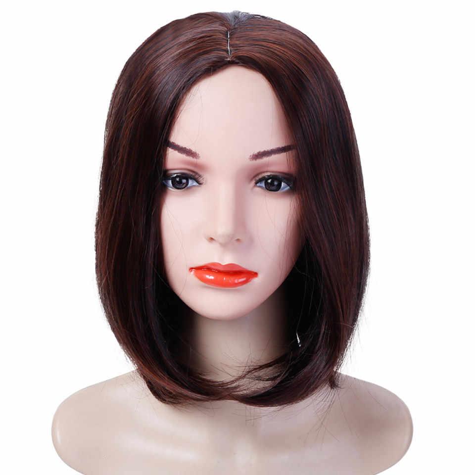 MUMUPI Moda Kadınlar yüksek kalite Bob Peruk sentetik Saç Peruk günlük giyim Kısa Düz gri/kahverengi/altın Saç doğal Siyah Peruk
