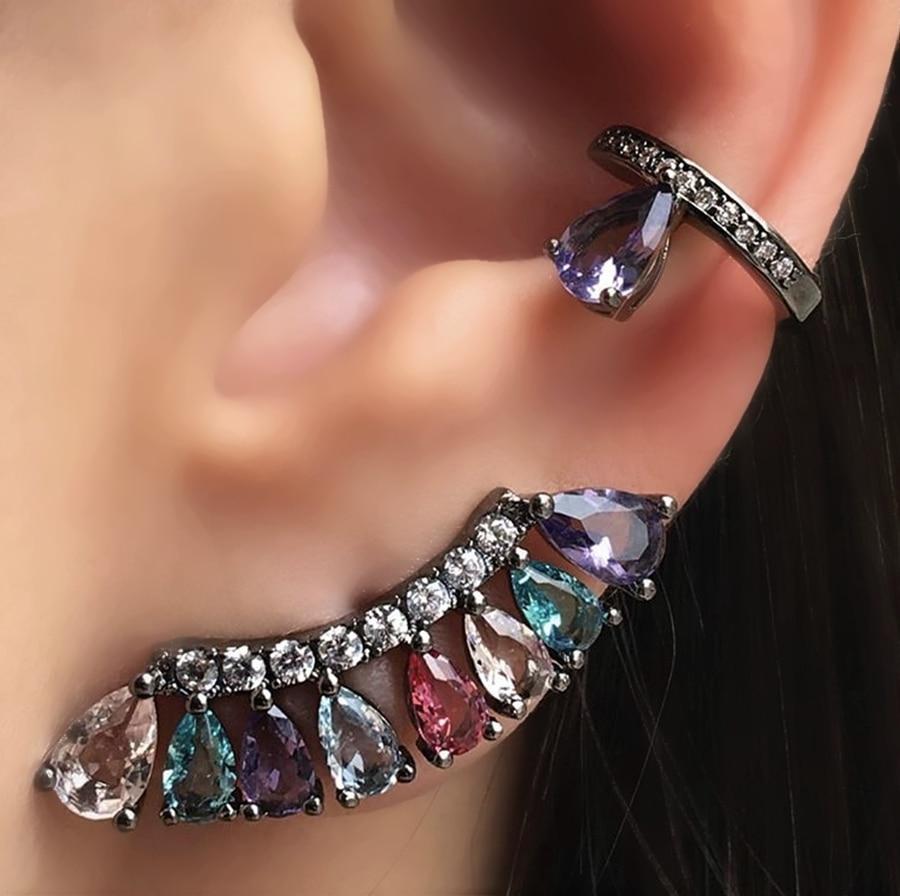 Boho colorful Stud Earrings for Women Gift Fan Style Cubic Zirconia Charming party Earring Female costume jewelry wholesale 2019