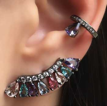 Boho colorful Stud Earrings for Women Gift Fan Style Cubic Zirconia Charming party Earring Female costume jewelry wholesale 2019 - DISCOUNT ITEM  39% OFF All Category