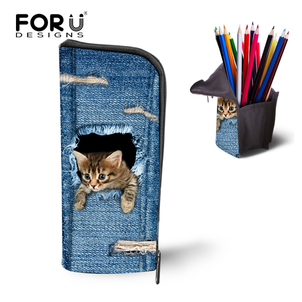 FORUDESIGNS Cute Animal Cat Pencil Case Cosmetic Denim Makeup Make Up Bag Zipper Pouch Purse Portable Children Girls Storage Bag