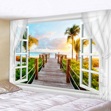 Scenery Outside The Window Print Wall Tapestry Cheap Hippie Wall Hanging Art Carpet Bohemian Decorative Living Room Big Blanket