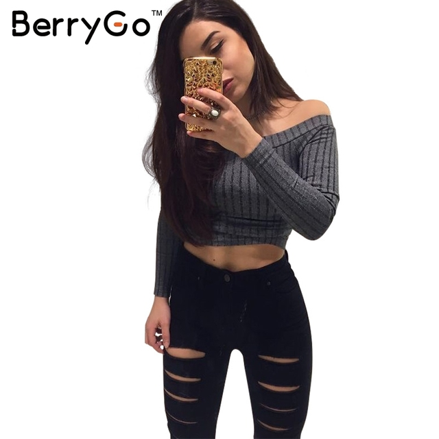 BerryGo Sexy barra neck off the shoulder mulheres tops estilo Europeu mulheres manga longa top colheita Menina inverno 2016 shirt mulheres tops