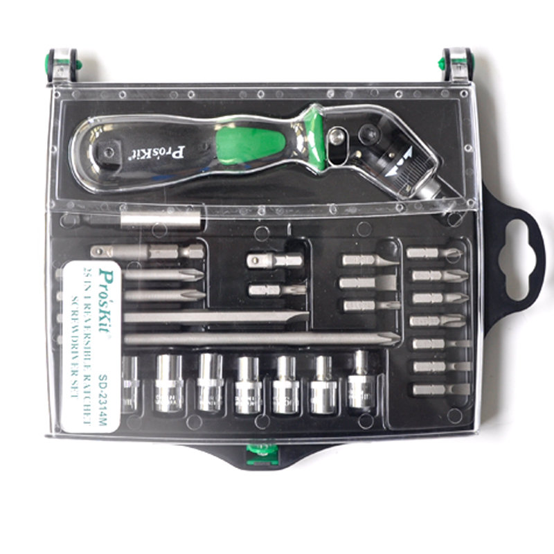 25 In 1 Reversible Ratchet Magnetic Screwdriver W/Bits & Sockets Set Screwdriver Set SD-2314M