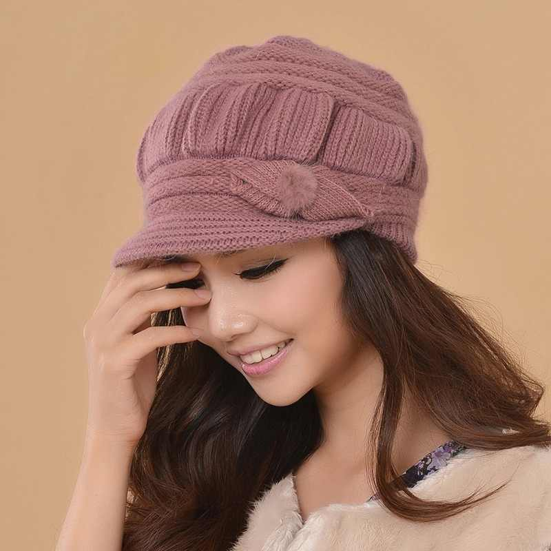 fabc1a49 Charles Perra Women Knitted Hats Winter Thicken Double Layer Ear Protection  Casual Wool Women's Hat Warm