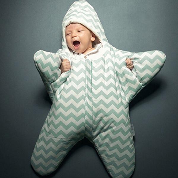 Cute starfish cartoon font b sleeping b font bag newborns winter warm strollers bed swaddle blanket