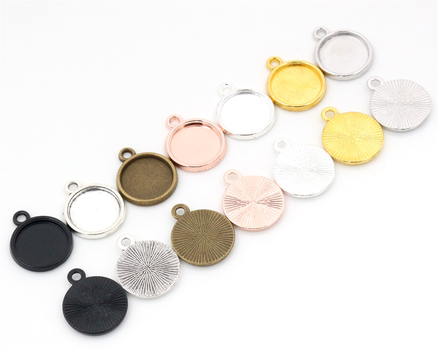 20pcs 12mm Inner Size Classic 7 Colors Plated One Sided Single Hanging Simple Style Cabochon Base Setting Charms Pendant