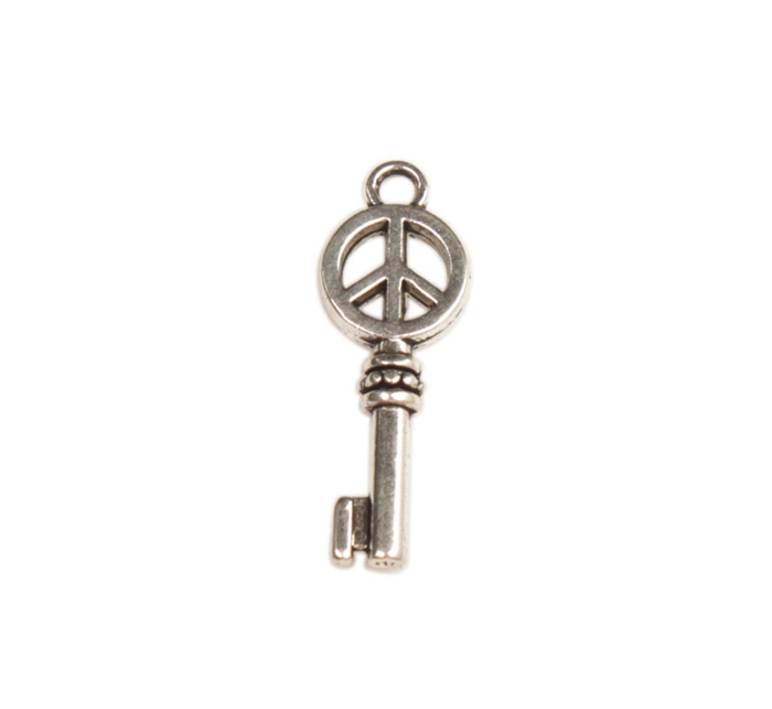 FREE SHIPPING 100pcs tibetan silver metal peace logo key charms A30031