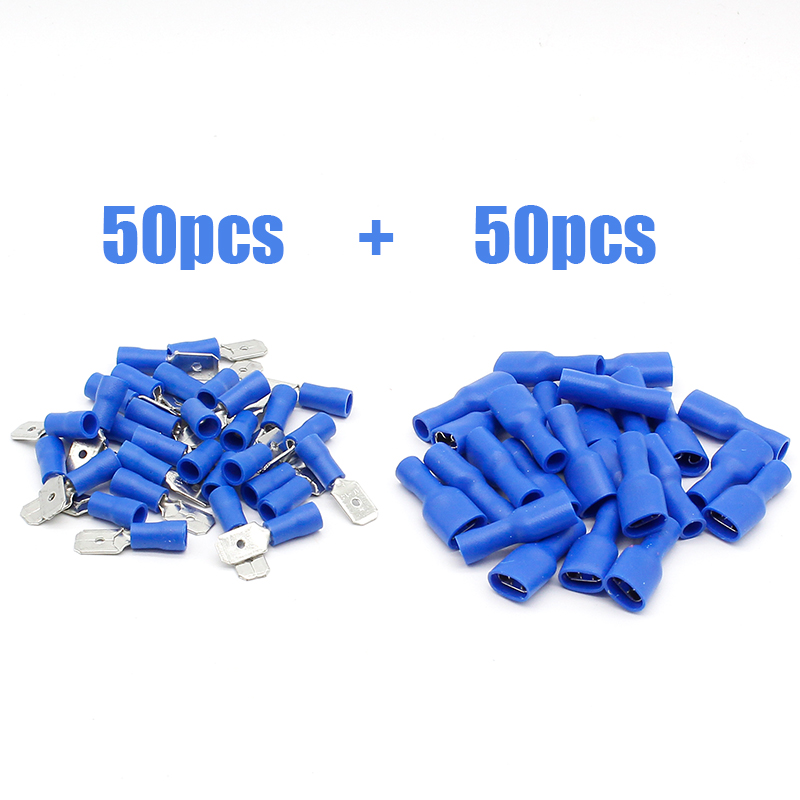 FDFD2-250*50 MDD2-250*50 16-14AWG BLUE Insulated Spade Crimp Wire Cable Connector Terminal Male/Female Kit 100PCS 50pair hd 007 surface mounting silver plated surface crimp terminal current 10a male female 250v 7 pins connector