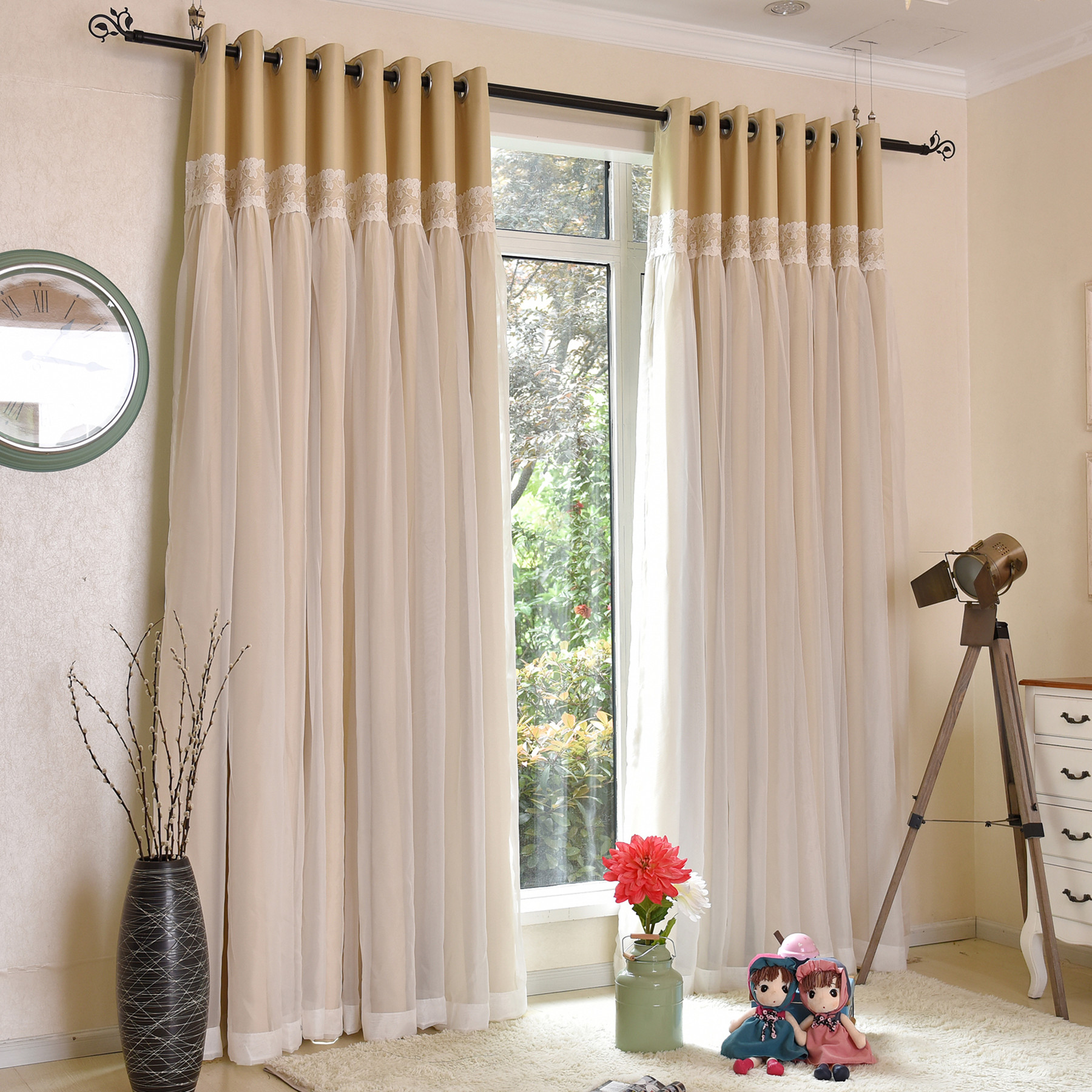 SunnyRain 1 Piece Luxury Double layer Curtain For Living Room ...