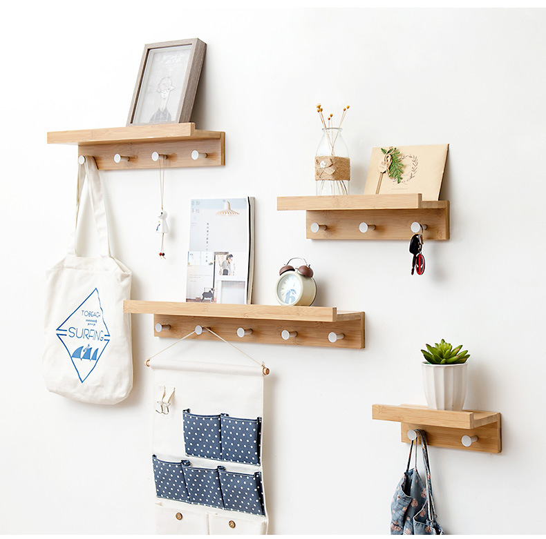 Bamboo Wall Mounted Shelf Coat Hooks Rack with 2/3/4/5 Alloy Hooks for Entryway/Bedroom/Kitchen/ BathroomBamboo Wall Mounted Shelf Coat Hooks Rack with 2/3/4/5 Alloy Hooks for Entryway/Bedroom/Kitchen/ Bathroom