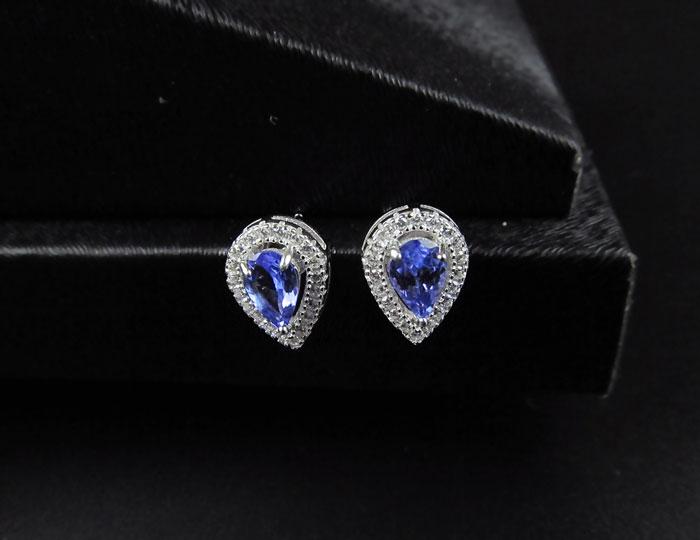 ZHHIRY Natural Blue Tansanit Ohrring Genuine Solid 925 Sterling - Edlen Schmuck - Foto 4
