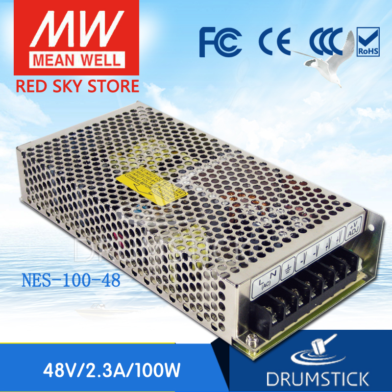 ФОТО Redsky [free-delivery 2Pcs] MEAN WELL original NES-100-48 48V 2.3A meanwell NES-100 110.4W Single Output Switching Power Supply