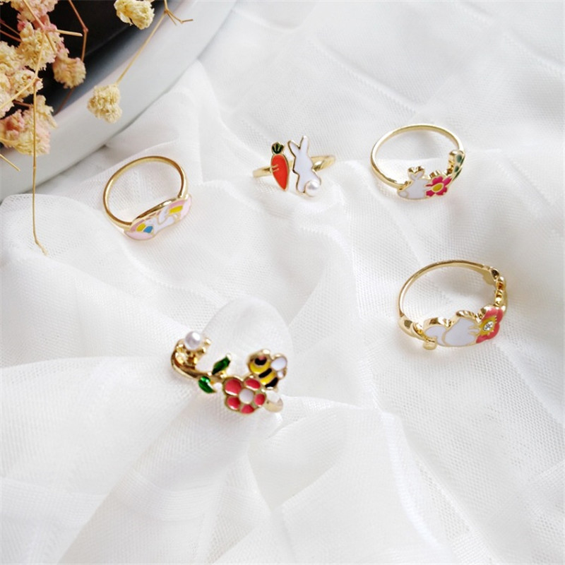 Japanese And Korean Fashion Simple Rabbit Squirrel Bee Unicorn Drop Oil Ring Cute Cartoon Animal Joint Ring Trendy Jewelry Gift