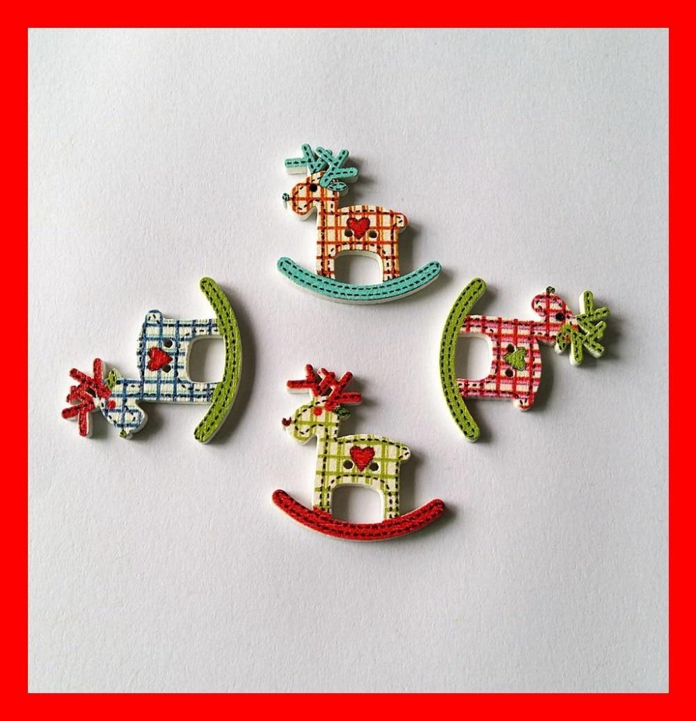 ⑤Caliente 30 unids mezcla Navidad Deer forma patrón madera Navidad ...