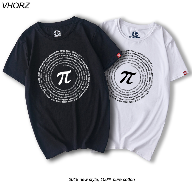VHORZ Novelty Pi Math TShirts Mens Cotton Loose Short Sleeve Tee shirts Geek Style T shirt Nerd Casual Mans T-shirts Tops