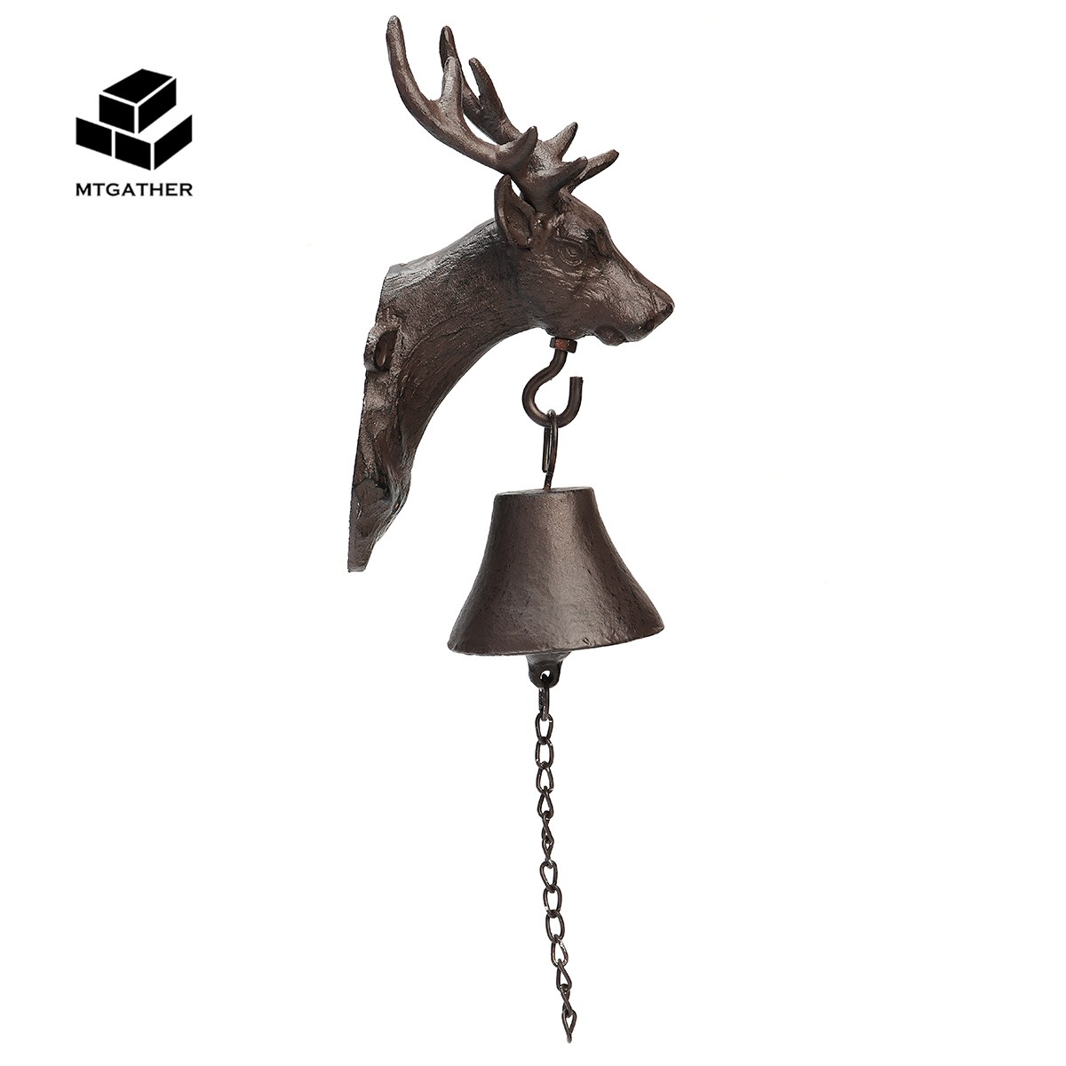 MTGATHER Vintage Cast Iron Door Bell Metal Wall Mounted Stag Head Deer Antler Reindeer Design for Home Garden Decoration