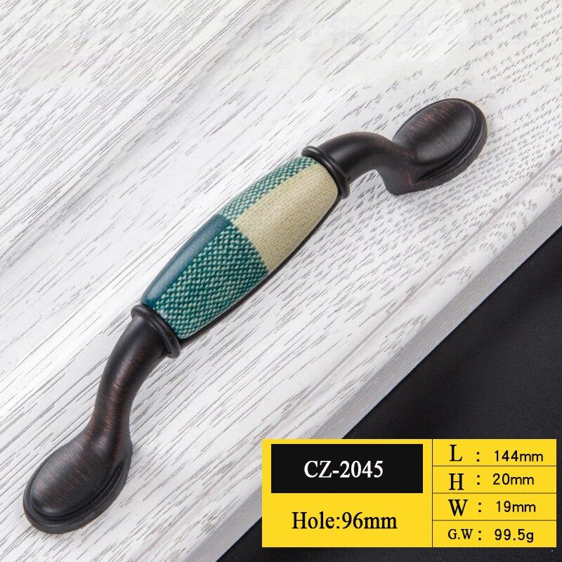 Керамические дверные ручки европейские ручки для антикварной мебели ручки и ручки для кухонного шкафа - Цвет: CZ-2045-96